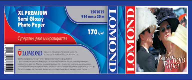 Фотобумага LOMOND (914ммх50,8мм) 200г/м2 30метров XL Premium Semi Glossy Photo Paper